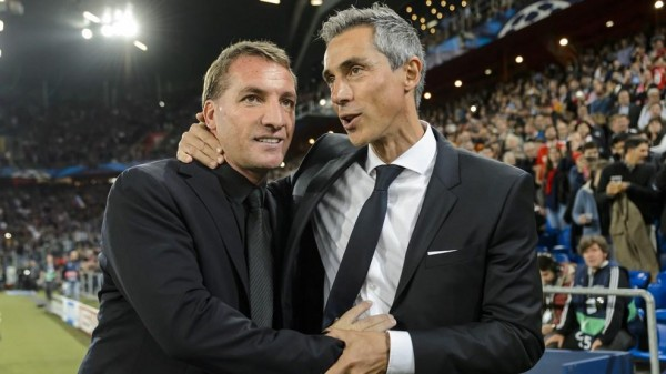 Coach Paulo Sousa and Brendan Rodgers Embrace after Uefa Champions League Game in Basel. Image: AFP/ Getty.