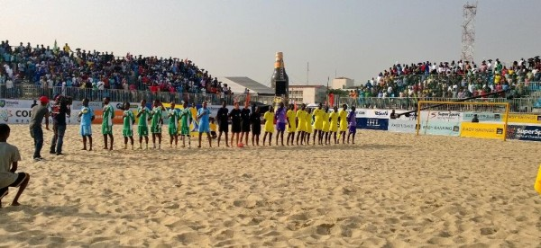 Supersand Eagles Players Taking the National Anthem During the 2013 Copa Lagos. Image: Copa Lagos.