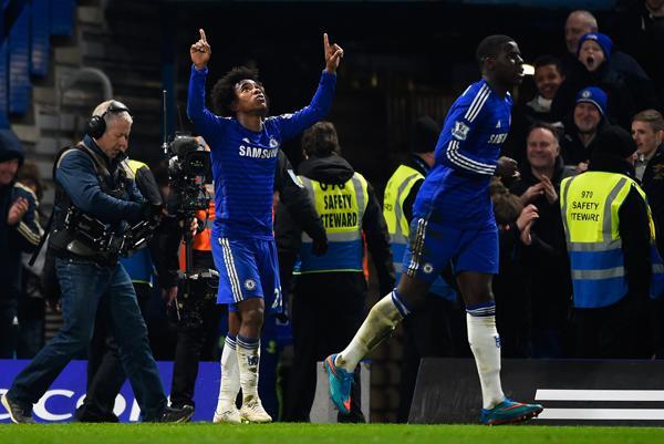 Willian Celebrates Chelsea Match-Winner against Everton at Stamford Bridge. Image: Getty.