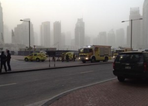 "Fire engines are seen after a fire broke out at ""The Torch"", a residential high-rise tower, in Dubai"