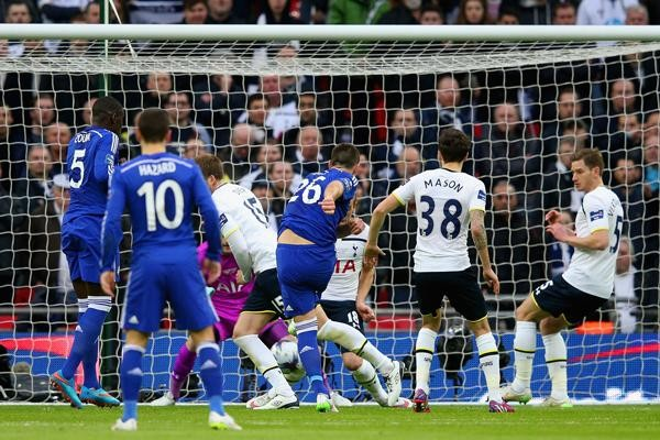 John Terry Fires Chelsea in the Lead against Spurs at Wembley. Image: Getty.