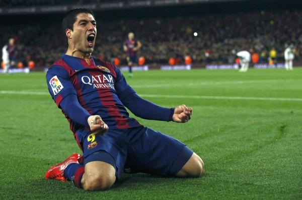 Luis Suarez Celebrated His First Career El Clasico Goal at the Camp Nou. Image: Getty.