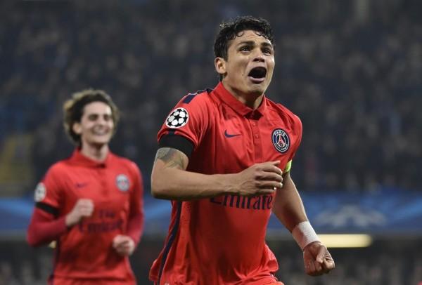 Thiago Silva Celebrates Scoring the Vital Goal Against Chelsea at Stamford Bridge.