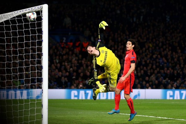 Thiago Silva's Looping Header Beats Thibaut Courtois In Goal for Chelsea at Stamford Bridge. Image: Getty.