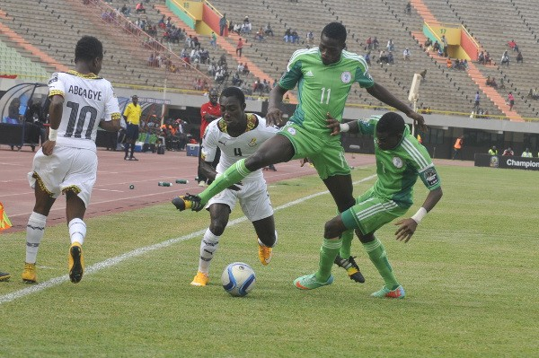 Usman Sale Vies for the Ball against Ghana in Dakar. Image: BackPagePix via Caf.