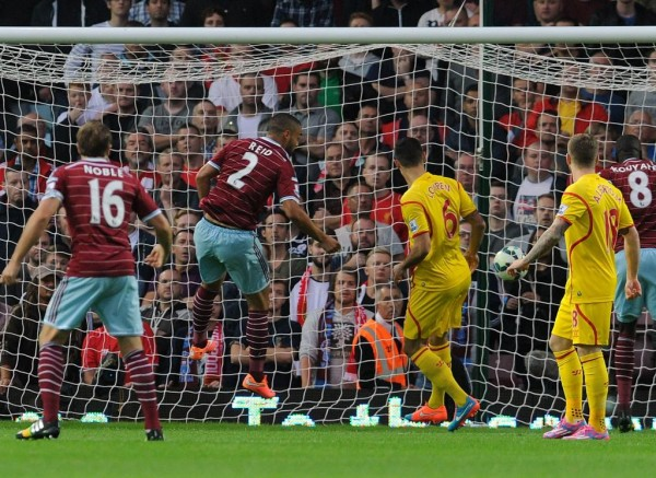 Winston Reid Scores in a League Win Over Liverpool in September. Image: Getty