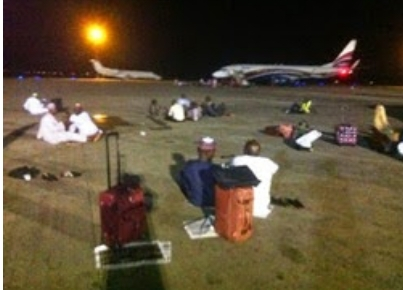 Photo: Angry Passengers Oit on Tarmac In Abuja Airport