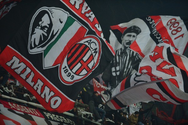 AC Milan Fans Waves Their Flag During an Italian Serie A Match. Image: AFP.
