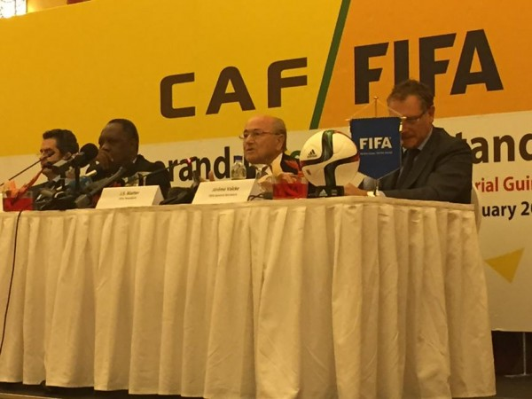 Sepp Blatter Addressing a News Conference During the 2015 Africa Cup of Nations in Equatorial Guinea.