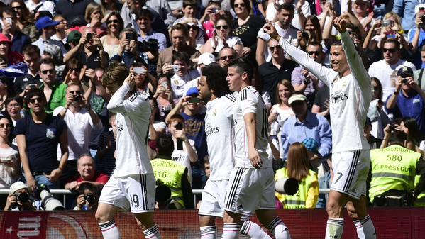 Cristiano Ronaldo Celebrates Scoring against Granada at the Bernebeu. Image: Getty.