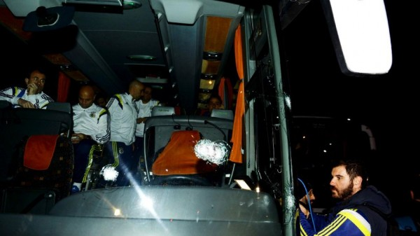 Fenerbahce Bus Attacked By a Gunman after a Turkish Super Lig WIn at Rizespor. Image: Reuters.