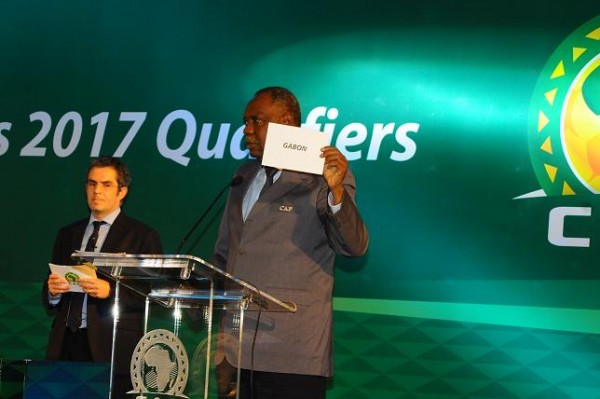 Issa Hayatou Unveils the Host Nations of the 2017 Africa Cup of Nations. Image: Caf.