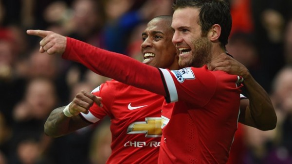 Juan Mata and Ashley Young Celebrate the Spaniard's Goal at Old Trafford. Image: Getty.