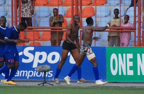 Sunshine Stars Players Kunle Odunlami and Prince Aggrey Celebrate Last Gasp Goal. Image: LMC.