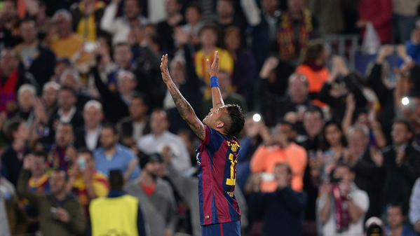 Neymarv Celebrates after Scoring against PSG at the Camp Nou. Image: Getty.