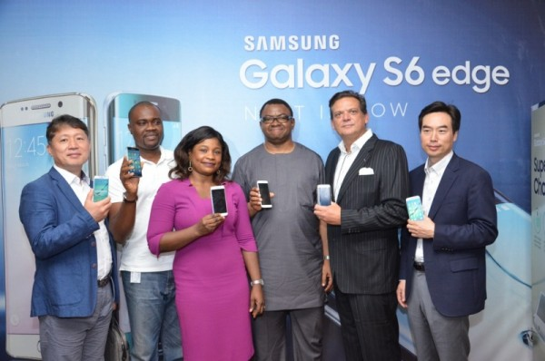 L-R; Managing Director, Samsung Electronics West Africa, Mr. Brovo Kim; General Manager, Consumer Marketing, MTN Nigeria; Head of Operator Business, Samsung Electronics West Africa, Mrs Lolade Shonubi; Senior Manager, Consumer Marketing, MTN Nigeria; Director, Information Technology and Mobile, Samsung Electronics West Africa, Mr. Emmanouil Revmatas and Business Development Director, Information Technology and Mobile, Samsung Electronics West Africa, Mr. Daesong  Ra at the official launch of the Samsung Galaxy S6 Smartphones