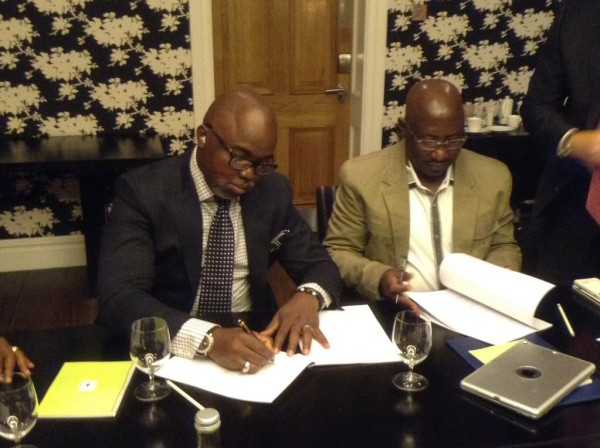 NFF President Amaju Pinnick Signing the New Kit Deal. Image: NFF.