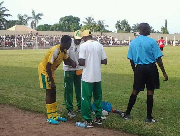 Rabiu ALi Receiving Treatment on the Touchline During a Glo Premier League Game. Image: LMC.