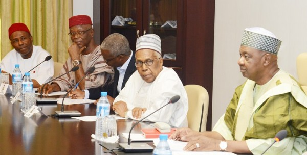 PIC.1. FROM LEFT: MEMBERS, TRANSITION COMMITTEE, OGBONNAYA ONU;  APC CHAIRMAN,  CHIEF JOHN OYEGUN; DEPUTY CHAIRMAN, TRANSITION COMMITTEE, DOYIN SALAMI;   CHAIRMAN, AHMED JODA AND VICE PRESIDENT NAMADI SAMBO, DURING THE COMMITTEE'S  MEETING AT THE PRESIDENTIAL VILLA IN ABUJA ON MONDAY (5/11/15).  2494/11/5/2015/ISE/CVM/CH/NAN