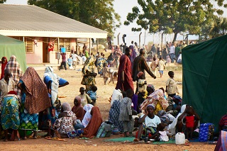 File photo: Civilians displaced by Boko Haram sit at a camp near Yola, the capital of northeast Nigeria's Adamawa state.