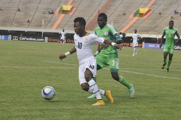 Flying Eagles Left-Back Mustapha Abdullahi in Action Against Ghana at the African Youth Championship.