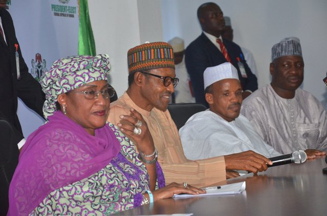 From left: APC Governorship Candidate Taraba State, Sen. Aisha Alhassan; President-elect, Muhammadu Buhari; APC Chairman Taraba State, Alh. Hassan Jika- Ardo; and Chief Whip. House of representative Mr. Ishaka Bawa