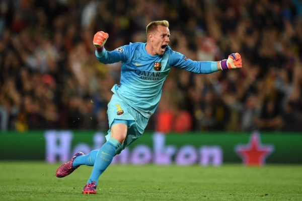 Marc-Andre tee Stegen Rejoices After Lionel Messi Goal at the Camp Nou. Image: Getty.