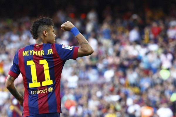 Neymar Celebrates His 58th League Goal for Barca against Sociedad. image: Getty.
