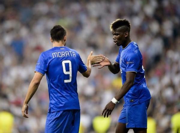 Álvaro Morata and Paul Pogna Celebrate the Former Real Man's Goal at the Bernebeu. Image: AFP/ Getty.