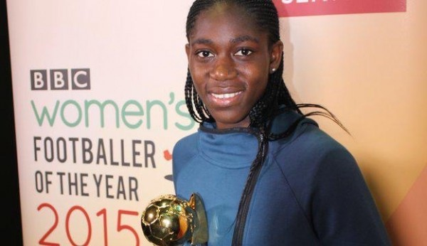 Asisat Oshoala is BBC Women's Footballer of the Year. Image: BBC.