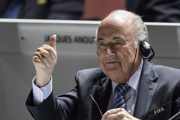 Sepp Blatter Thumbs Up His Supporters after Winning a Fifth Term as Head of FIFA. Image: AP.