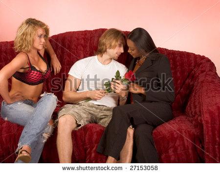 Husband observes while wife serves 3