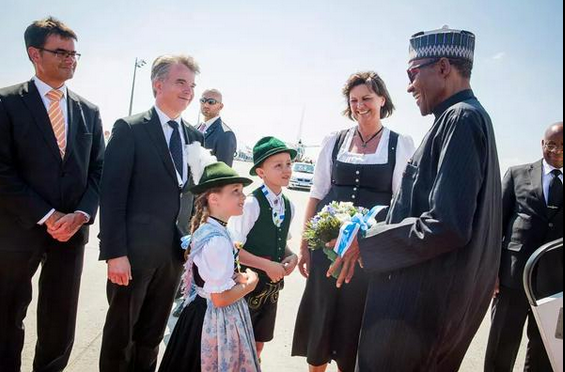 Buhari being received in Germany