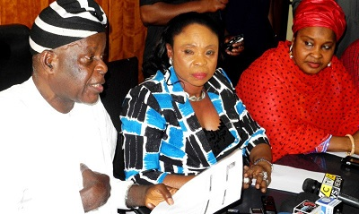 FROM LEFT: CHAIRMAN, POLICE SERVICE COMMISSION (PSC), MIKE OKIRO; COMMISSIONER FOR MEDIA, SOUTH-EAST ZONE, COMFORT OBI AND COMMISSIONER FOR WOMEN AFFAIRS, AISHA TUKUR, AT A NEWS CONFERENCE ON THE ALLEGED N275M ELECTION-MONITORING FUND'S FRAUD ROCKING THE PSC IN ABUJA