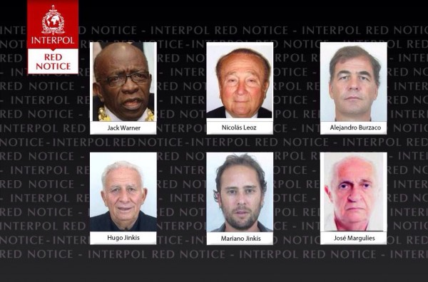 Six Men Linked With FIFA on INTERPOL's Wanted List. Image: INTERPOL.