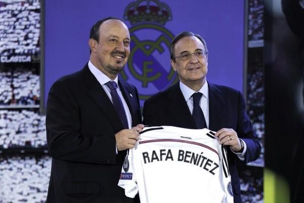 Rafael Benitez and Fiorentino Perez During Presentation Ceremony at the Santiago Bernebeu. Image: AFP.
