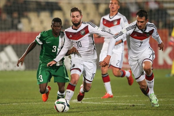 Abdullahi Mustapha Back Tracks on Marc Stendera after Giving Away Possession During a Fifa Under-20 World Cup Last-16 Clash Between Nigeria and Germany, image: Fifa via Getty.