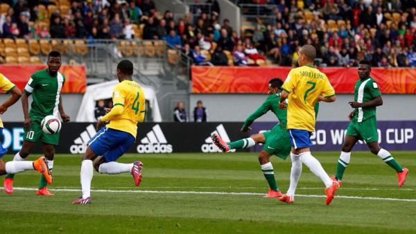 Isaac Success Scores Flying Eagles Equaliser against Brazil at the Taranaki Stadium. Image: Fifa via Getty.