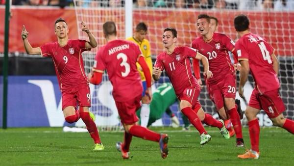 Serbia Players Celebrate Marksimorvic's Late Extra-Time Goal. Image: FIFA via Getty.