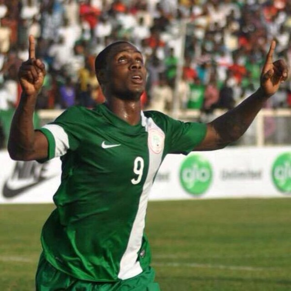 Jude Ighalo Celebrates His First Goal for Nigeria on His Competitive Debut.