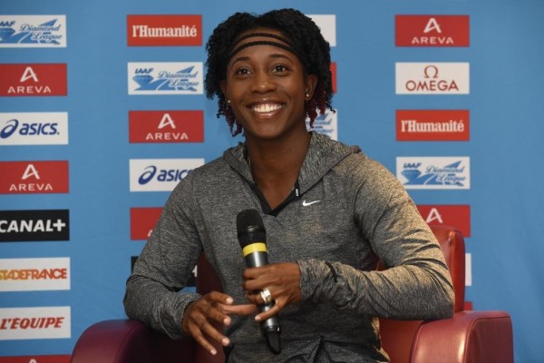 Fraser-Pryce Answers Questions from Journalist During a Press Conference in Paris. Image: MeetingAreva.
