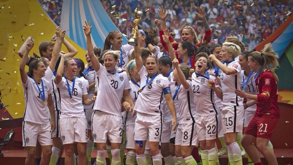 The USA Celebrates After Winning a Record Third FIFA Women's Workd Cup. Image: FIFA via Getty.