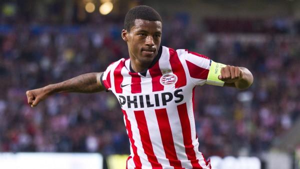 Georginio Wijnaldum Celebrates after Scoring for PSV. Image: Getty.
