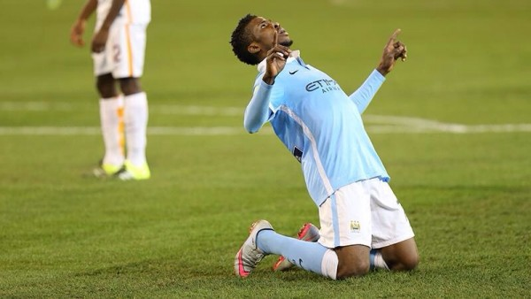 Iheanacho Celebrates Scoring for Man City in a Pre-Season Win against AS Roma. Image: Twitter/MCFC.