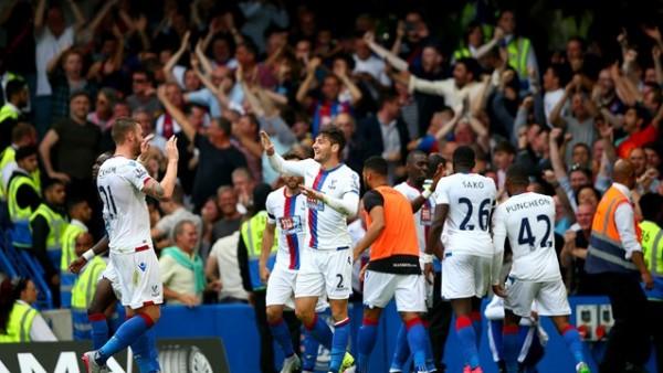 Crystal Palace Players Celebrates James Ward Goal against Chelsea at Stamford Bridge. Image: PA.