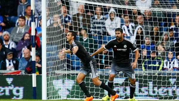 Pedro celebrates after Scoring His First Chelsea Goal at West Bromwich Albion. Image: Getty.