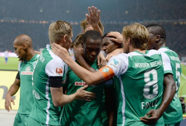 Anthony Ujah Celebrates His First Bundesliga Goal in the Shirts of Werder Bremen With Team-Mates. Image: Getty.