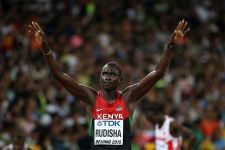 Kenya's David Rudisha Celebrates after Winning His Second World Title. Image: Getty.