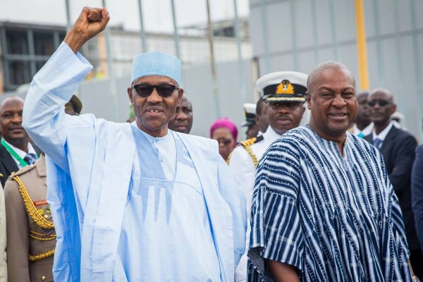 Presidents of Nigeria and Ghana, Muhammadu Buhari and John Mahama