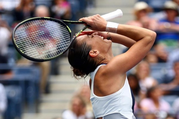 Flavia Pennetta Astounded after He Commanding Victory Over Simona Halep in the Semi-Finals of the US Open. Image: Getty via USTA.